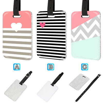 Heart With Stripes Chevron Leather Glitter Luggage Tag Travel Bag Silver