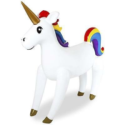 Giant Inflatable Unicorn Party Prop Rainbow Blow Up 155cm Free Standing R65-1784