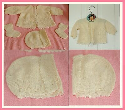 1940's 2 Vintage Vintage Baby Sweaters, 1 Lovely Hat, 2 Booties, All Crochet ~