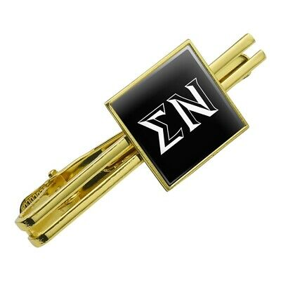 SIGMA NU FRATERNITY Greek Letters Square Tie Bar Clip Clasp Tack- Silver or  Gold