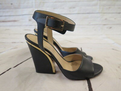 8dab09efbfb Chloe Sandal Black Leather Gold-Trim Chunky Heel Size 36 Open Toe Ankle  Strap