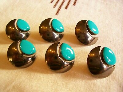 6 Italian turquoise enamelled/ silver metal fashion buttons  22 mm. diameter
