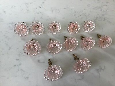 12 Small Clear Pink Glass Kitchen Cabinet Knob Drawer Pull Antique Vintage Look