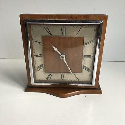 Vintage Retro Mantel Clock Wooden Frame Made In England Brass Metalware H17.5cm