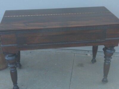 """Antique 48"""" rosewood  Spinet Piano Desk Flip Top Turned Legs Table/desk"""