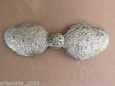 RARE Very Old ANTIQUE OTTOMAN GREEK SILVER Women BELT BUCKLE  HAND MADE 19th C.