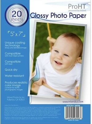 Pro HT Glossy Photo Paper 5x7. New 20 sheets - 1pkg