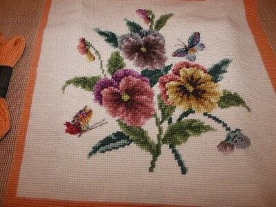 Beautiful  BUTTERFLIES AND PANSIES NEEDLEPOINT CANVAS! 99% Done! Yarn to Finish