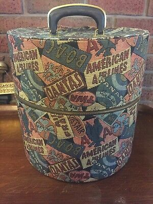 Vintage Munro Carry All Wig Hat Box Carrier Tapestry Travel Case Victorian