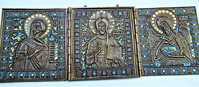 Old Antique Russian Bronze Triptych of Diesis, 19 -20th century