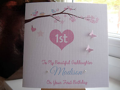 Personalised Handmade Girls 1st First Birthday Card Granddaughter Daghter Niece