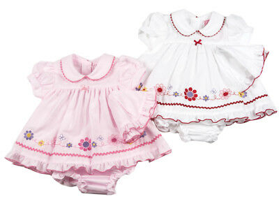 Baby Girls Dress Spanish Style pink white floral newborn 0-3 months 3-6 months