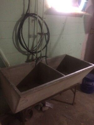 Vintage Double Basin Cement Laundry Basement Utility Sink w/  Metal Stand