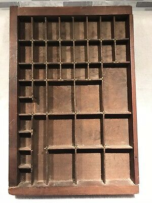 """Printers Type Set Cabinet Drawer Tray Wood ANTIQUE 11 1/4"""" x 16 3/4 x 1.5"""""""