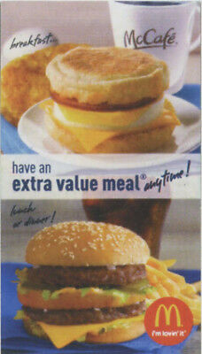 30 McDonald's Combo Meal Cards with No Expiration
