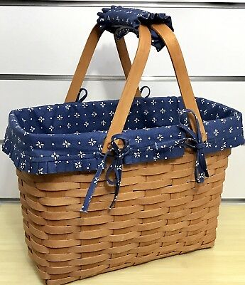 Longaberger Magazine Basket 1991, Classic Blue Liner and Handle Gripper