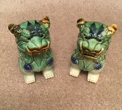 Vintage Pair Of Ceramic Green Glaze Sitting Chinese Dog Figurines Pre-owned