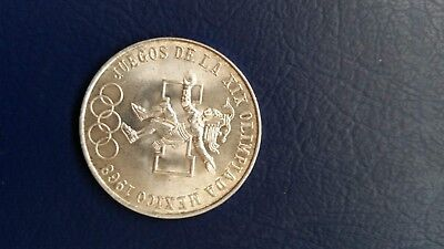 Silver Mexican Coin 1968 Olympic 25 Peso .720 pure