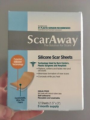 ScarAway Silicone Scar Treatment Sheets 12 Count 6 Month SUPPLY EXP 06/21