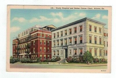GA Atlanta Georgia antique linen post card Grady Hospital Steiner Cancer Clinic
