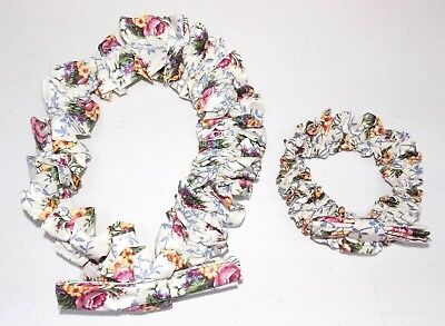 2 Longaberger Floral Scallop Fabric Garters - 1 Size Small - 1 Size Large - New
