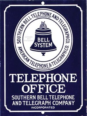 """Southern BELL Telephone Telegraph Vintage Aluminum Sign 9"""" x 12"""""""