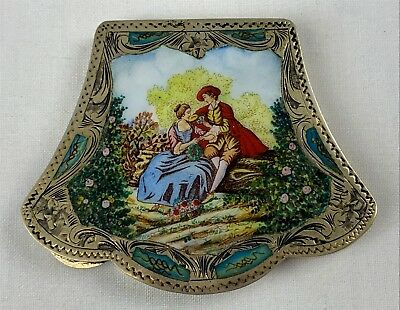 Florence Italy 800 Silver Enameled Courting Couple Compact Case