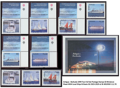 Antigua - Barbuda 1999 Two Full Set Postage Stamps & Miniature Sheet MNH Local S