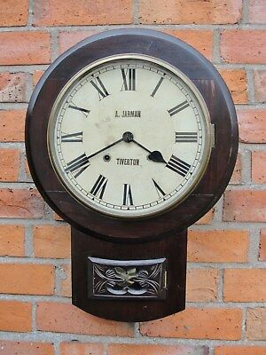 ANTIQUE VICTORIAN WALL CLOCK by A. JARMAN of TIVERTON which keeps good time