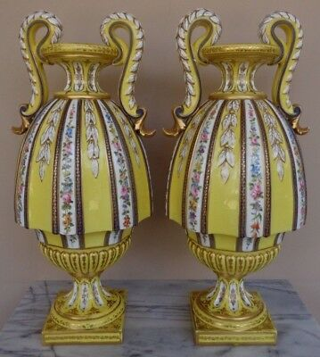 "Antique Pair 2 Sevres France Porcelain Signed 19"" Yellow Vases Urns Vase Urn Set"