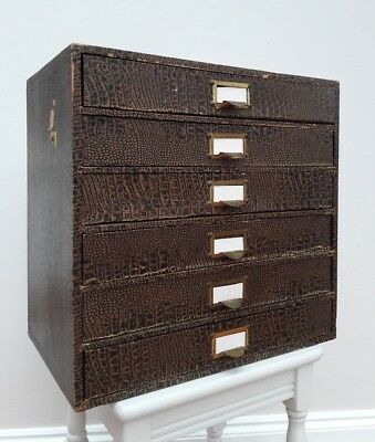 Medium Vintage filing office 6 drawers paper covered wood.