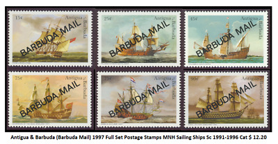 Antigua & Barbuda (Barbuda Mail) 1997 Full Set Postage Stamps MNH Sailing Ships