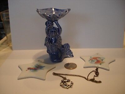 Mermaid Figurine with Shell, 2 Nautical Ornaments & 1 Necklace with Ship Anchor