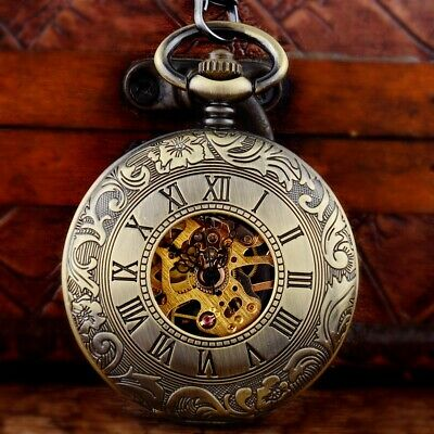 Bronze Double Hunter Mechanical Skeleton Pocket Watch Chain Antique Retro Gift