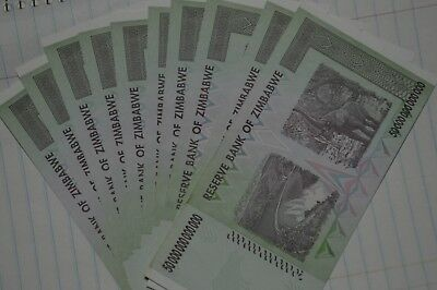 Zimbabwe 50 Trillion Dollars x 1 Piece, 2008 AA Almost Uncirculated $50 Trillion