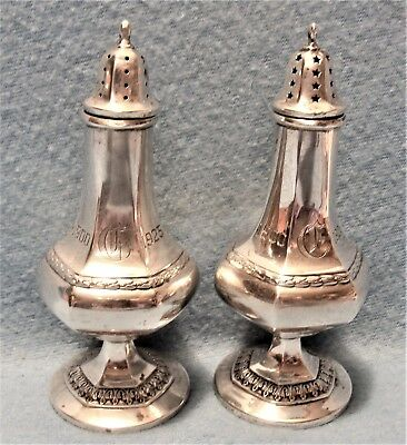 "1900-1925 Silver Anniversary 5"" Solid Sterling Silver Salt & Pepper Shakers"