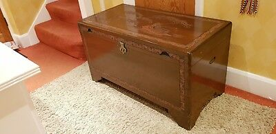 Vintage Oriental Chinese Carved & Engraved Camphor Wooden Blanket Storage Trunk