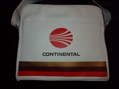 Vintage CONTINENTAL AIRLINES Carry-On TRAVEL BAG - WHITE With RED MEATBALL LOGO