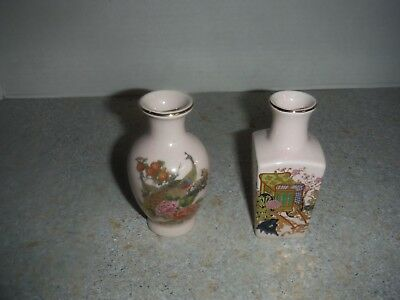 2 Vintage Mini China Chinese Porcelain Hand-Painted Bud Vase Floral Design