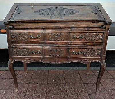 Superb C19th Antique French Hand Carved Solid Oak Louis XV Rococo Bureau Desk