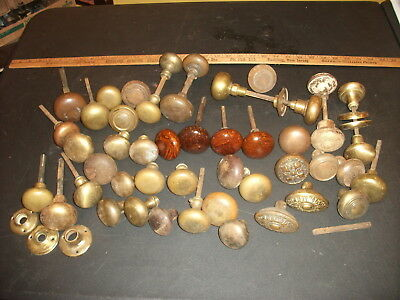Vintage lot of 47 door knobs & hardware salvage antique