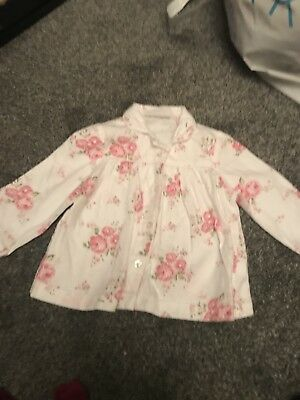 The Little White Company London Shirt White With Flower Pattern 12-18 Months