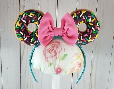 Donut Minnie Mouse Ears w Pink Bow Disneyland Disney World