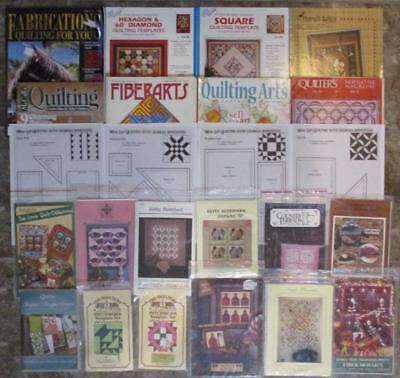 Lot of 21 Quilt Patterns Books Plastic Templates Packets DVD Patchwork Quilting