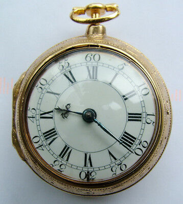 Rare Gilt pair cased cylinder watch by the Great John Ellicott Junior of London