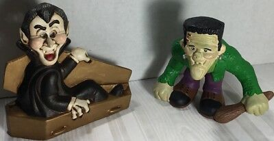 Vintage Homemade Halloween Ceramic Dracula Sitting Up In A Coffin & Frankenstein