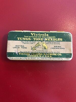 Vintage Victrola Tungs-Tone Needles Tin With 3 Needles Victor Talking Machine Co