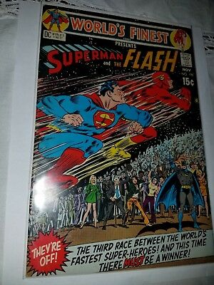 WORLD'S FINEST #198 VF 8.0 WHITE PAGES (1970) 3rd SUPERMAN/FLASH RACE!
