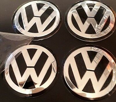 4 x 60mm VW Black CentreCaps Overlays/Stickers/Emblems Aluminium Embossed Logo