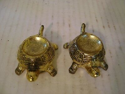Vintage Pair Of Small Brass Turtles With Indented Shells